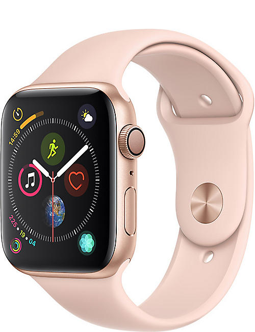 APPLE Watch Series 4, 44mm, GPS, Gold Aluminium, Pink Sand, Sports Band
