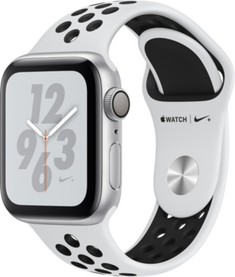 APPLE Nike+ Watch Series 4, 40mm, GPS, Silver Aluminium, Pure Platinum Black, Sports Band