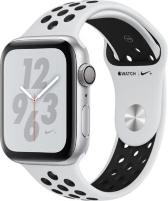 APPLE Nike+ Watch Series 4, 44mm, GPS, Silver Aluminium, Pure Platinum Black, Sports Band