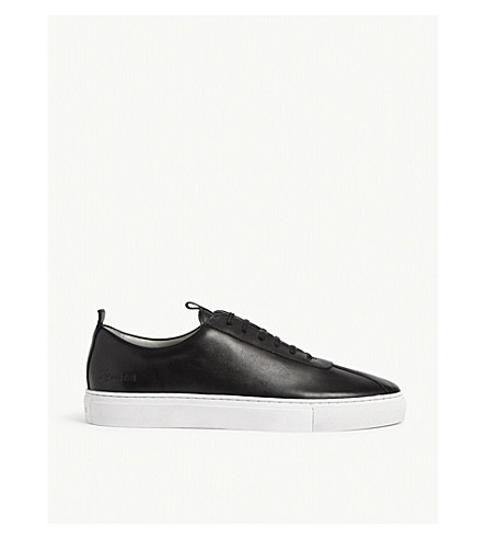 GRENSON Leather Low-Top Trainers in Black