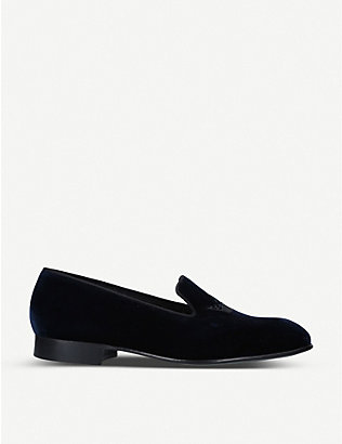 CHURCH: Sovereign crown-embroidered velvet loafers