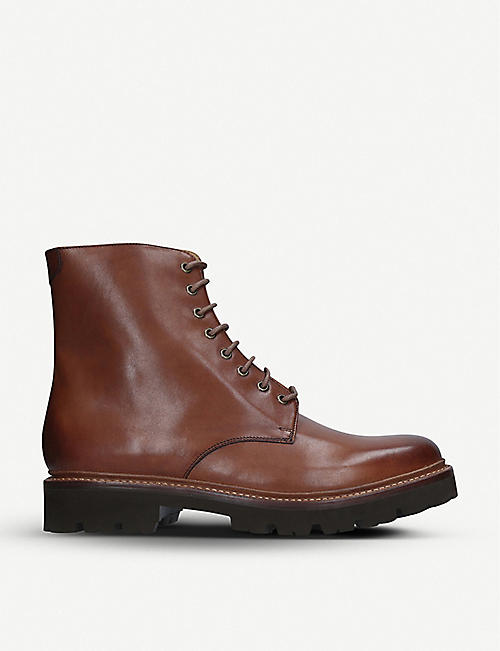 GRENSON: Hadley leather Derby boots