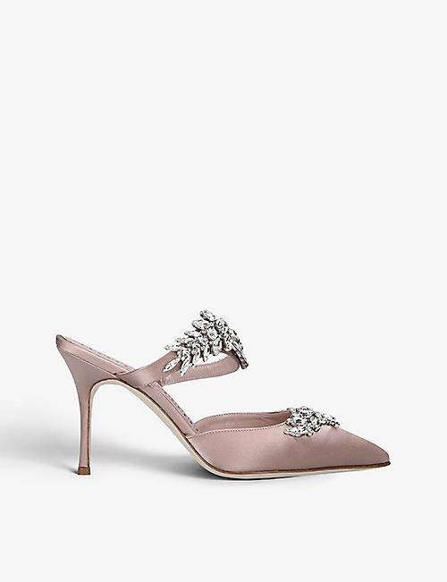 MANOLO BLAHNIK: Lurum 90 crystal-embellished satin mules