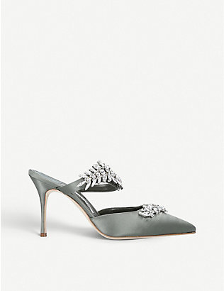 MANOLO BLAHNIK: Lurum crystal-embellished satin mules