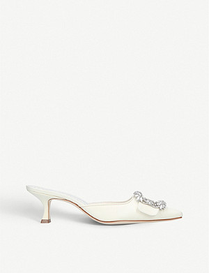 MANOLO BLAHNIK Maysale Bride silk and leather heeled mules