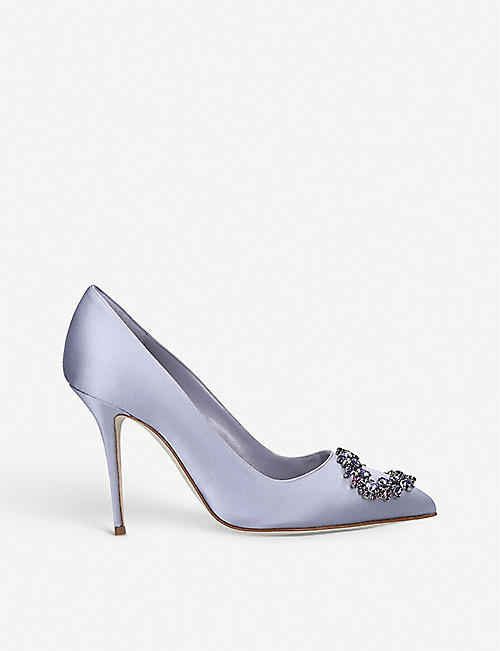 MANOLO BLAHNIK Bolliana 105 Swarovski crystal-embellished satin courts