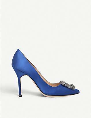 MANOLO BLAHNIK: Hangisi 105 buckle-embellished satin courts