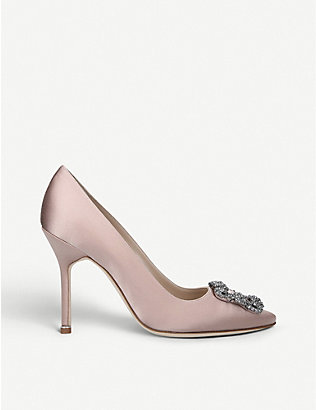 MANOLO BLAHNIK: Hangisi crystal-embellished satin courts
