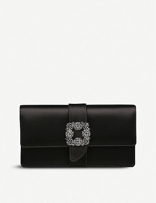 MANOLO BLAHNIK Capri crystal-embellished satin clutch