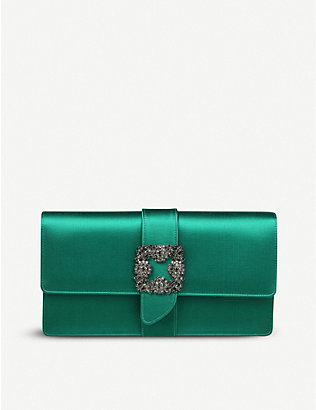 MANOLO BLAHNIK: Capri crystal-embellished satin clutch