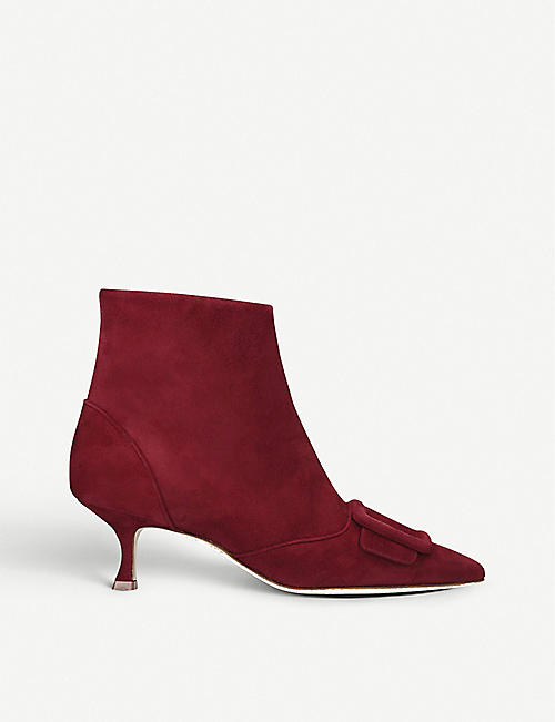 MANOLO BLAHNIK Baylow suede heeled ankle boots