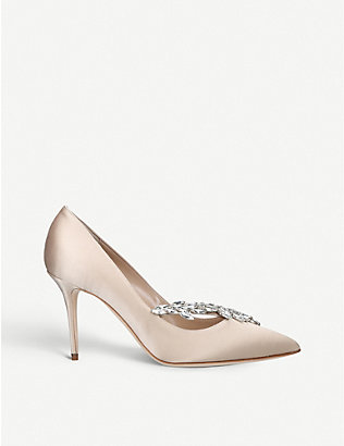 MANOLO BLAHNIK: Nadira crystal-embellished satin courts