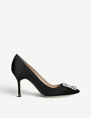 MANOLO BLAHNIK Hangisi 90 crystal embellished satin courts