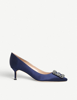 MANOLO BLAHNIK Hangisi 50 crystal embellished satin courts