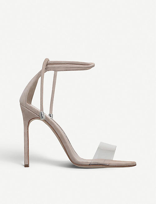 MANOLO BLAHNIK Estro 115 suede and PVC heeled sandals