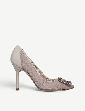 MANOLO BLAHNIK Hangisi 105 buckle-embellished lace courts