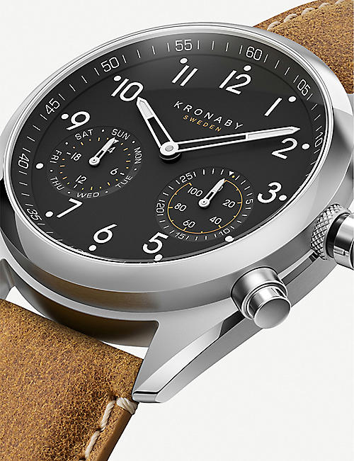 SMARTECH Kronaby 3112 Apex stainless steel and leather hybrid smartwatch