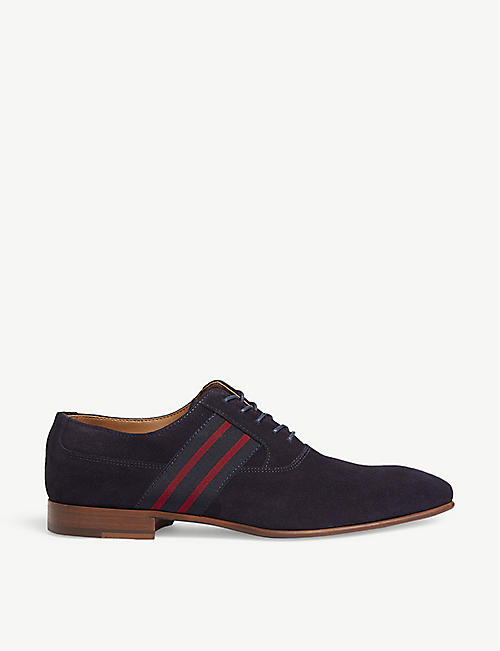 ALDO: Breaclya stripe-trimmed suede Oxford shoes
