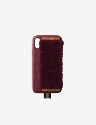 CHAOS Shearling and leather iPhone X case