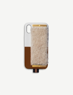 CHAOS Shearling and leather iPhone XS case