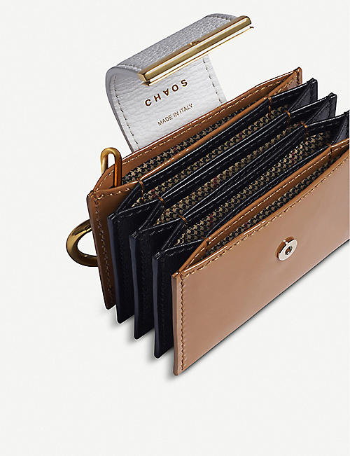 CHAOS Fold-over leather, deerskin and nylon card holder