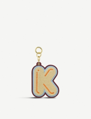 CHAOS Initial K chenille luggage tag