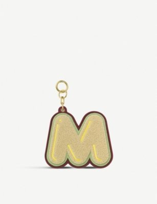 CHAOS Initial M chenille luggage tag