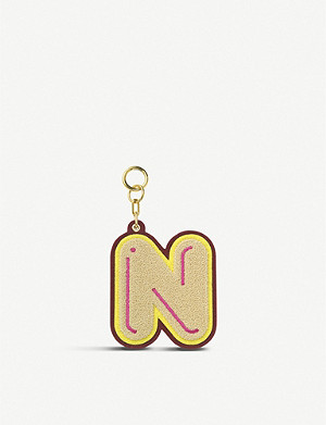 CHAOS Initial N chenille luggage tag