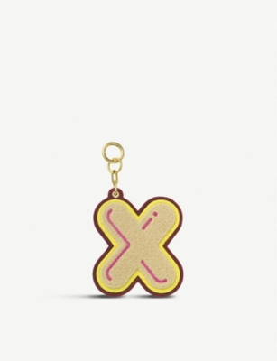 CHAOS Initial X chenille luggage tag