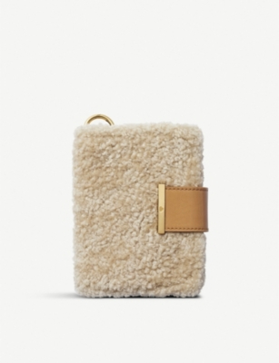 CHAOS Shearling and leather passport holder