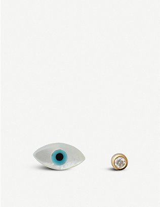 THE ALKEMISTRY: Ainara Evil Eye 18ct yellow-gold earrings