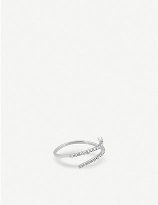 THE ALKEMISTRY: Kismet by Milka 14ct white-gold and diamond double band ring