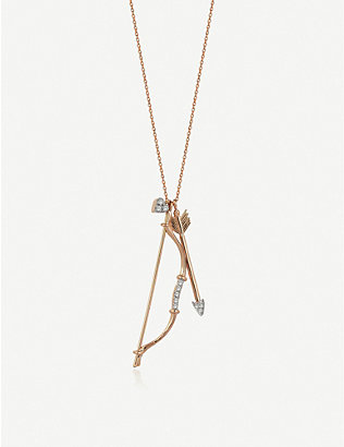 THE ALKEMISTRY: The Alkemistry x Kismet by Milka bow and arrow 14ct rose-gold and diamond necklace