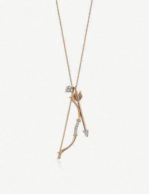 THE ALKEMISTRY The Alkemistry x Kismet by Milka bow and arrow 14ct rose-gold and diamond necklace