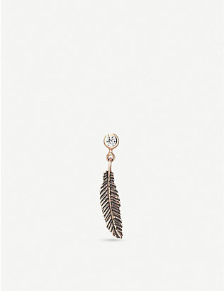 THE ALKEMISTRY: The Alkemistry x Kismet by Milka 14ct rose-gold and diamond feather single earring