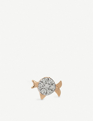 THE ALKEMISTRY Kismet by Milka Pisces 14ct rose-gold and diamond single earring
