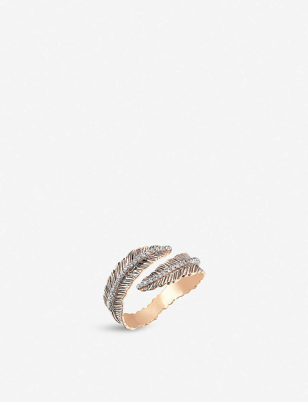 THE ALKEMISTRY: Kismet by Milka feather 14ct rose-gold and diamond ring