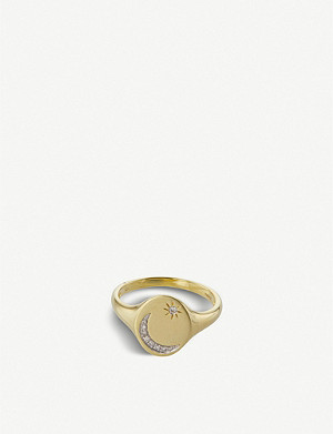 THE ALKEMISTRY Meira T moon and star yellow-gold and diamond pinky ring