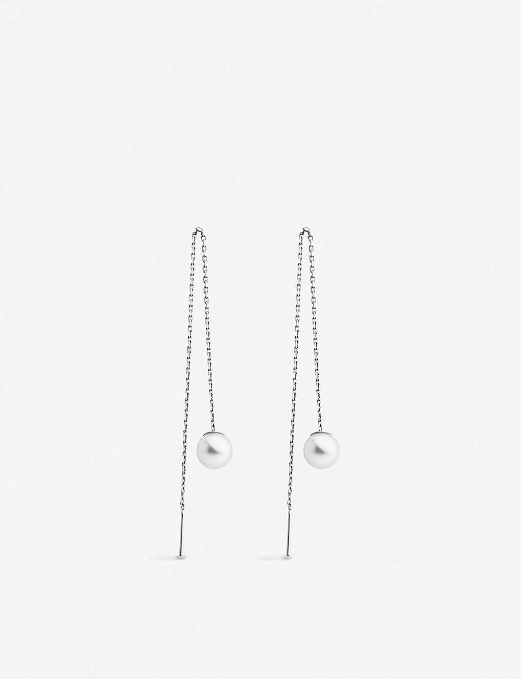 THE ALKEMISTRY: Redline Sensuelle 18ct white-gold and pearl chain earrings