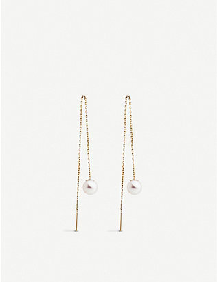THE ALKEMISTRY: Redline Sensuelle 18ct yellow-gold and pearl chain earrings