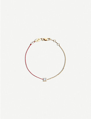 THE ALKEMISTRY: Redline Princess 18ct rose-gold, silk, pearl and diamond bracelet