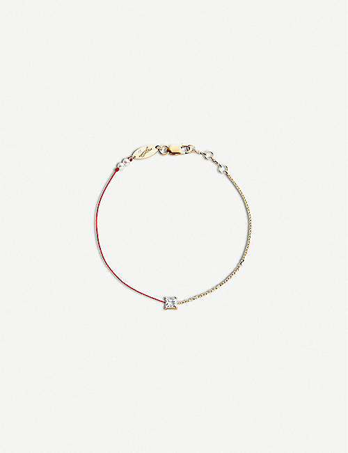 THE ALKEMISTRY Redline Princess 18ct rose-gold, silk, pearl and diamond bracelet