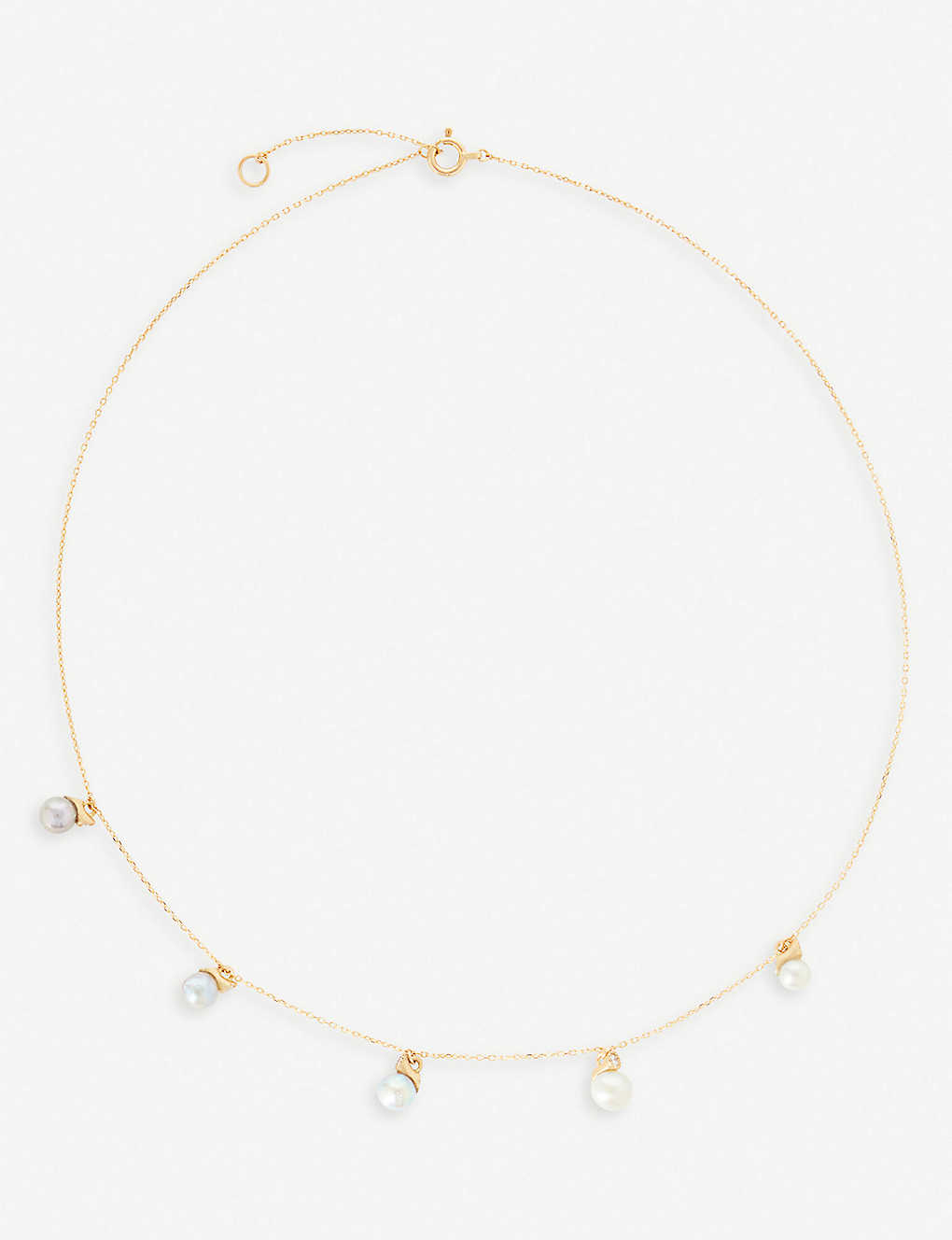 194a743fe44ef9 RICO by Mizuki 18ct yellow-gold and five Akoya pearls and white diamond  necklace ...