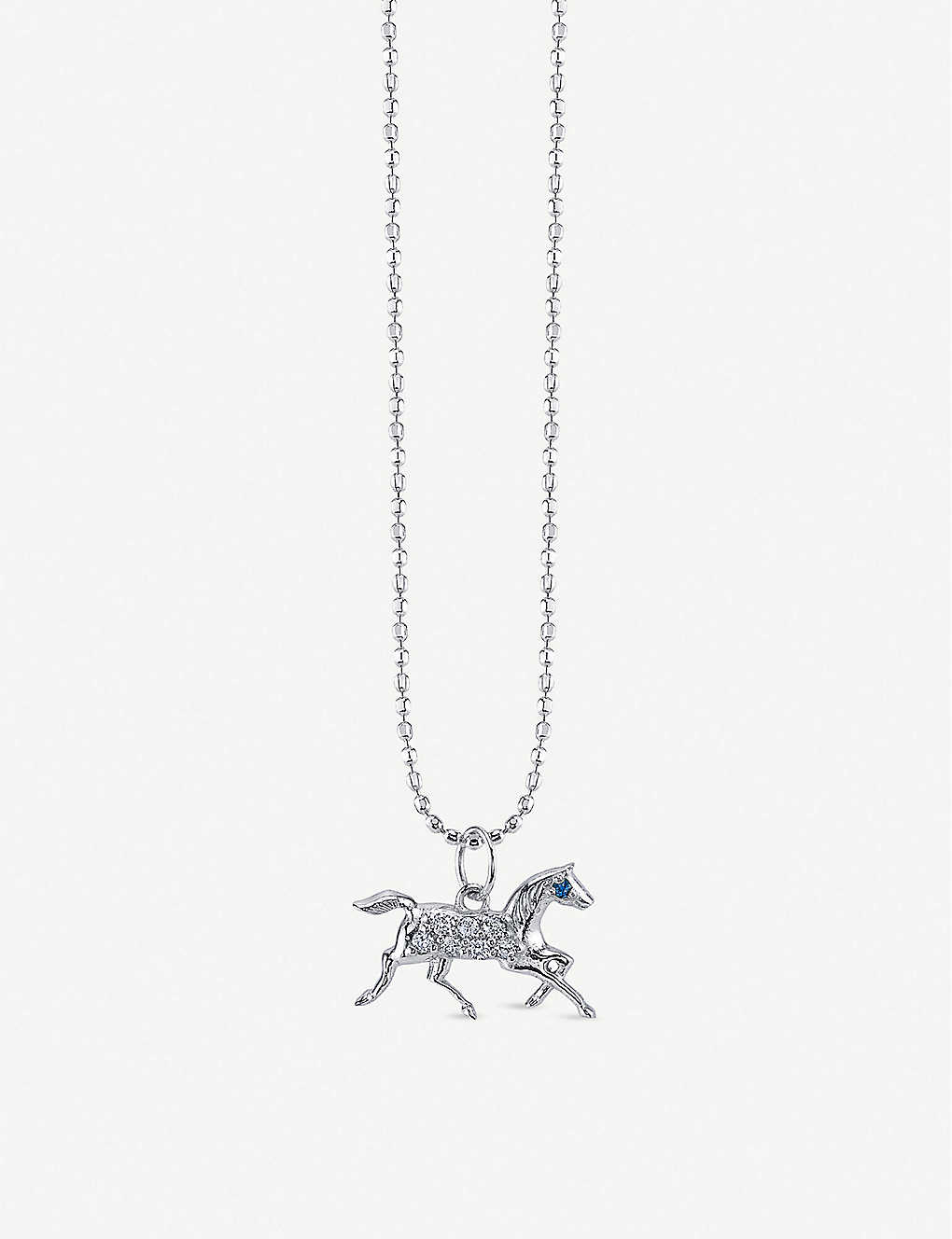 THE ALKEMISTRY: Sydney Evan Horse 14ct white-gold, sapphire and diamond necklace