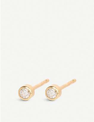 THE ALKEMISTRY: Zoë Chicco 14ct yellow-gold and diamond stud earrings