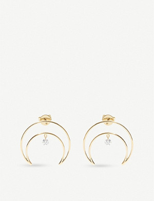 THE ALKEMISTRY Persée Moon Drilled 18ct yellow gold diamond earrings