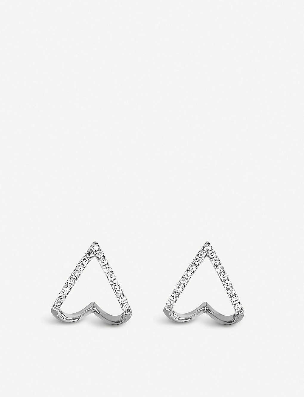 THE ALKEMISTRY: EF Collection Chevron huggie 14ct white-gold and diamond earrings