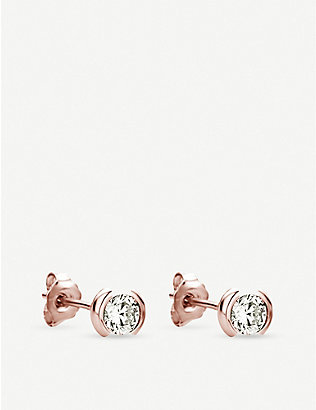 THE ALKEMISTRY: 18ct rose-gold and diamond stud earrings