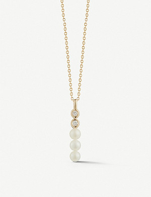 THE ALKEMISTRY Dana Rebecca Pearl Ivy Pillar 14ct yellow gold and diamond necklace