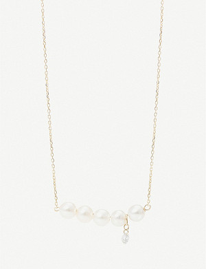 THE ALKEMISTRY Persée five pearls and drilled diamond 18ct yellow-gold necklace